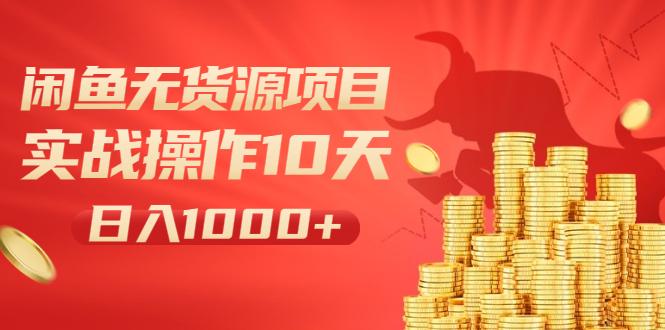 闲鱼无货源项目:实战操作10天做到日入1000+新手老手也可以做!